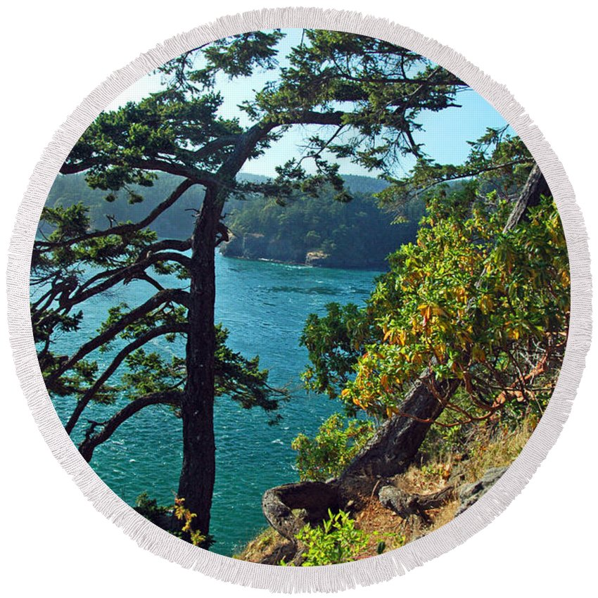 Oregon Round Beach Towel featuring the photograph Pine Over The Bay by George E Richards