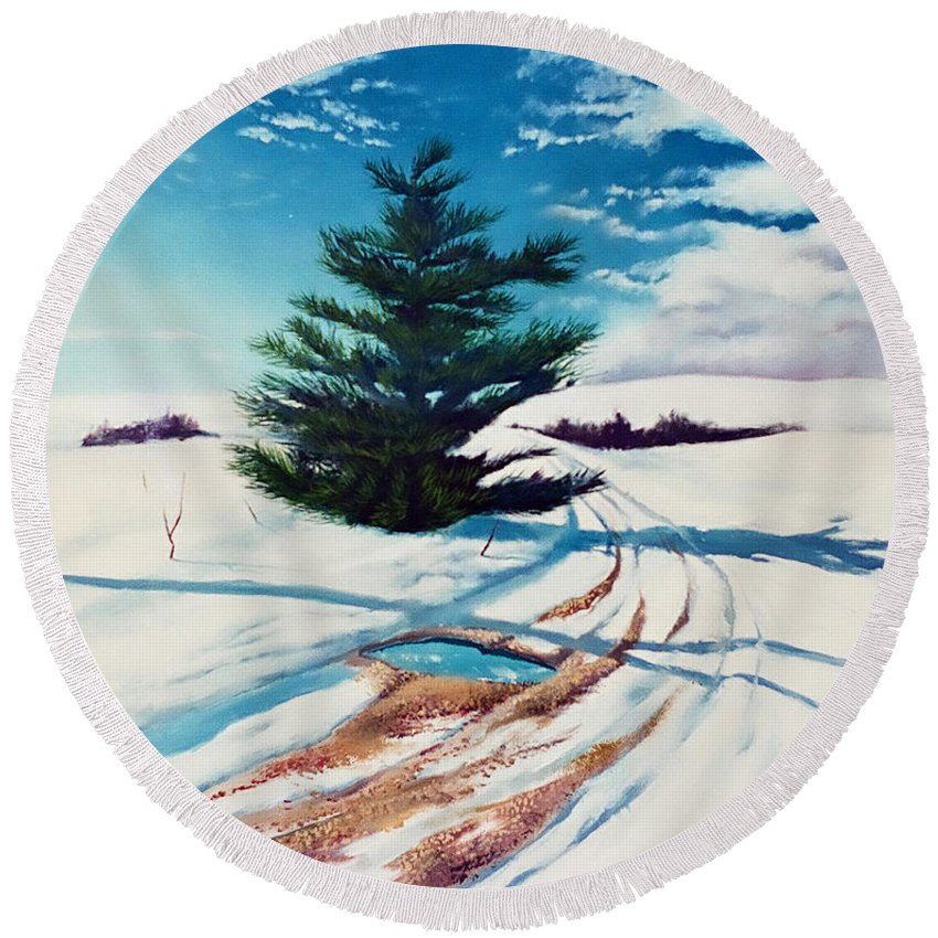 Pine Tree Round Beach Towel featuring the painting Pine Tree Along The Country Road by Christopher Shellhammer