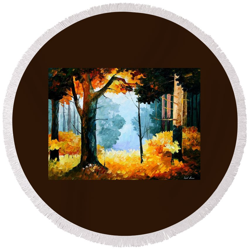 Afremov Round Beach Towel featuring the painting Pine Wood by Leonid Afremov