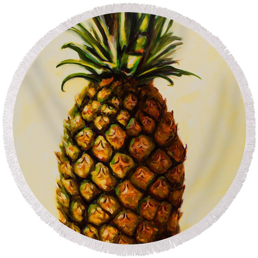 Pineapple Round Beach Towel featuring the painting Pineapple Angel by Shannon Grissom