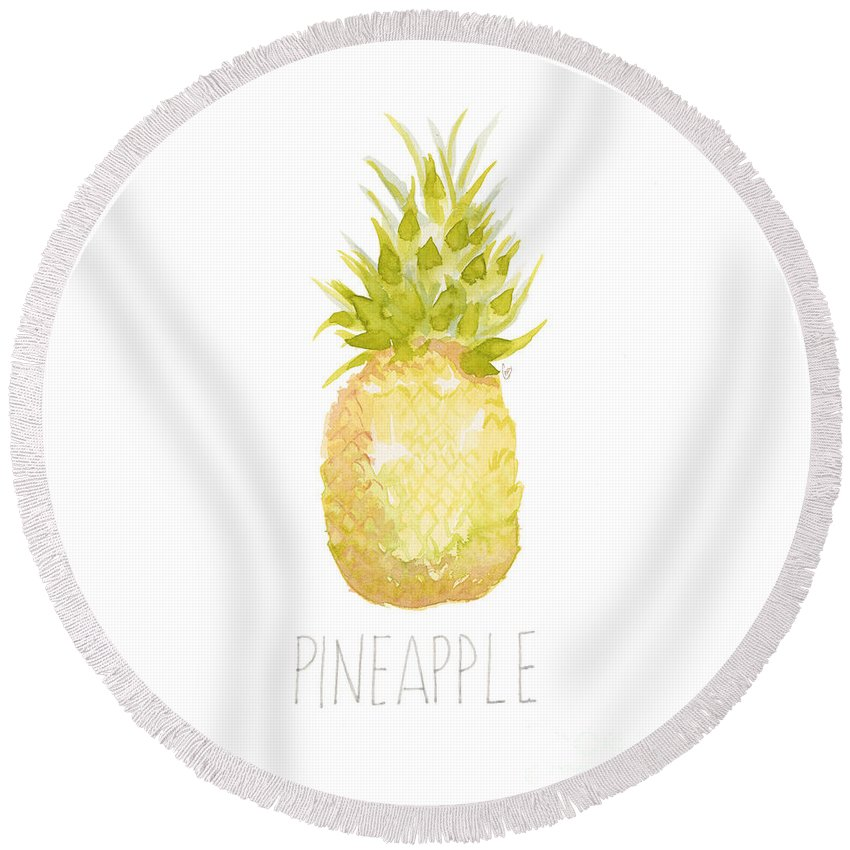 Pineapple Round Beach Towel featuring the painting Pineapple by Cindy Garber Iverson