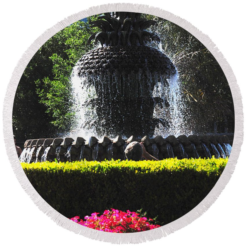 Photography Round Beach Towel featuring the photograph Pineapple Fountain Charleston Sc by Susanne Van Hulst
