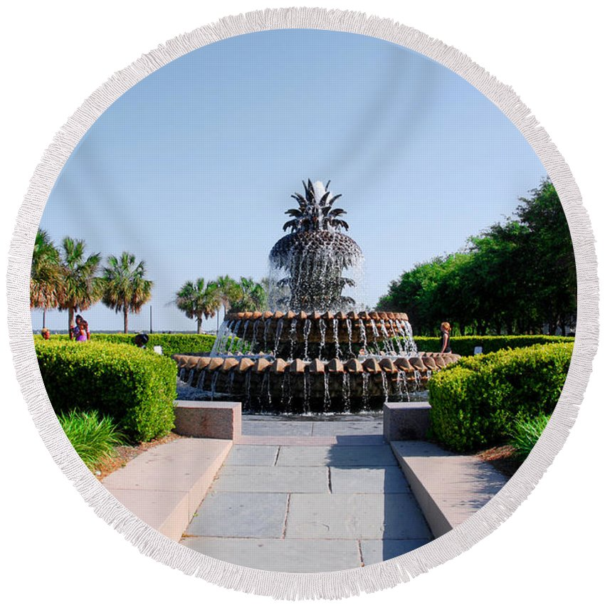 Photography Round Beach Towel featuring the photograph Pineapple Fountain In Charleston by Susanne Van Hulst