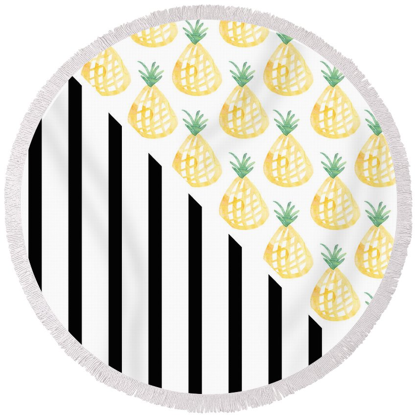 Pineapple Round Beach Towel featuring the mixed media Pineapples And Stripes by Linda Woods