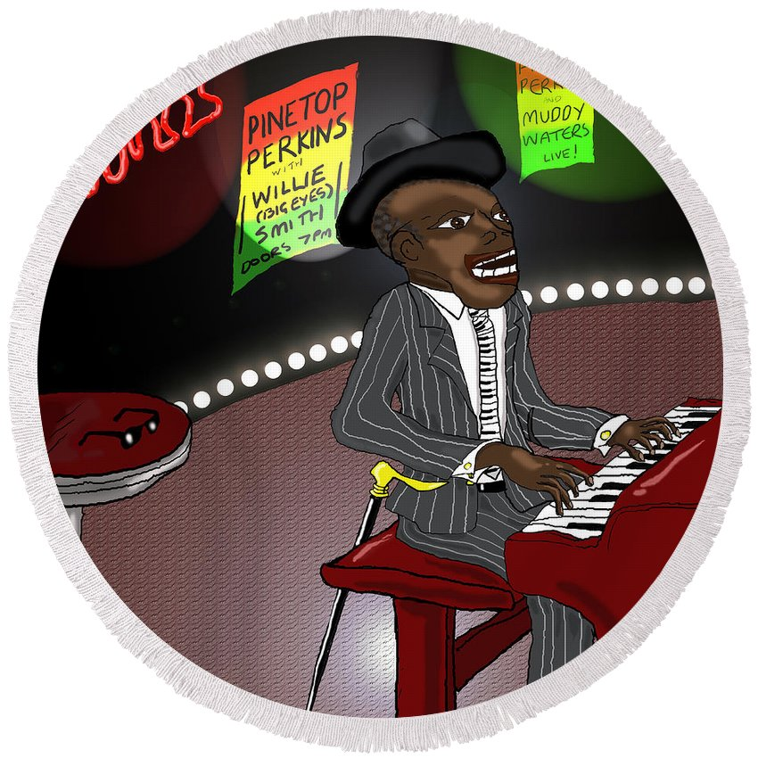 Musician Art Round Beach Towel featuring the digital art Pinetop Perkins by Kev Moore