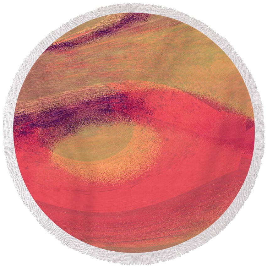 Fantasy Round Beach Towel featuring the digital art Pink Ambrelia by Max Steinwald