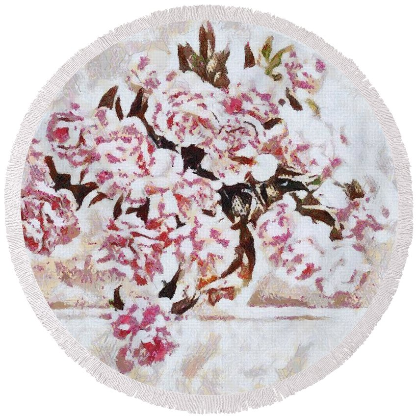 Pink And Beautiful Round Beach Towel featuring the painting Pink And Beautiful by Catherine Lott
