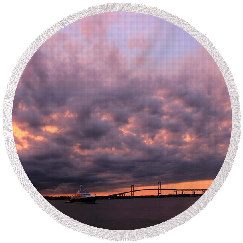 Sunset Round Beach Towel featuring the photograph Pink And Purple Sunset by Monique Flint