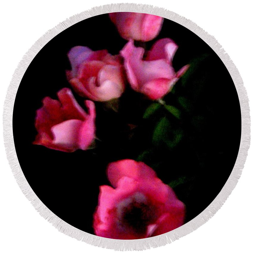 Pink Round Beach Towel featuring the photograph Pink And White Flowers On Black by April Patterson