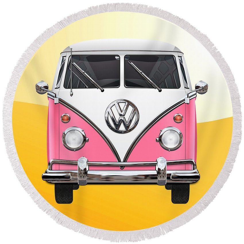 'volkswagen Type 2' Collection By Serge Averbukh Round Beach Towel featuring the photograph Pink and White Volkswagen T 1 Samba Bus on Yellow by Serge Averbukh