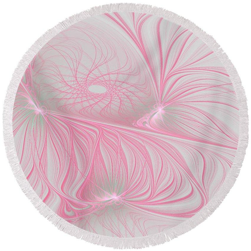 Fractal Round Beach Towel featuring the digital art Pink Anyone by Deborah Benoit