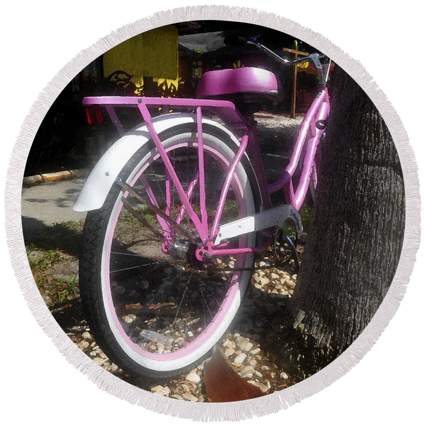 Pink Round Beach Towel featuring the painting Pink Bicycle by David Lee Thompson