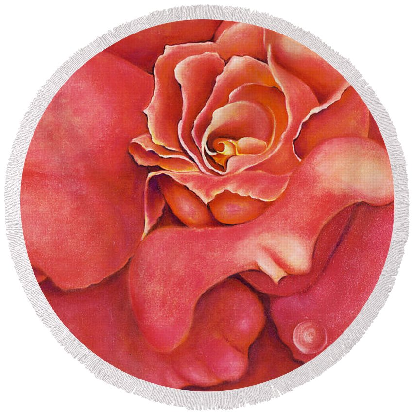 Rose.bloom Round Beach Towel featuring the painting Pink Blush by Jordana Sands