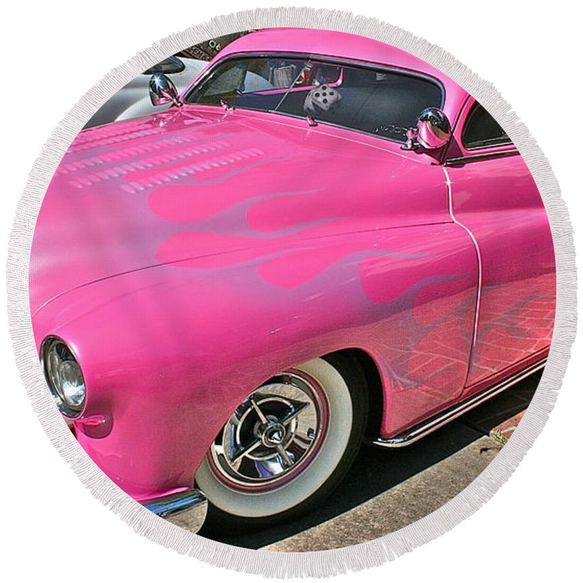 Photograph Round Beach Towel featuring the photograph Pink Bomb by Gwyn Newcombe