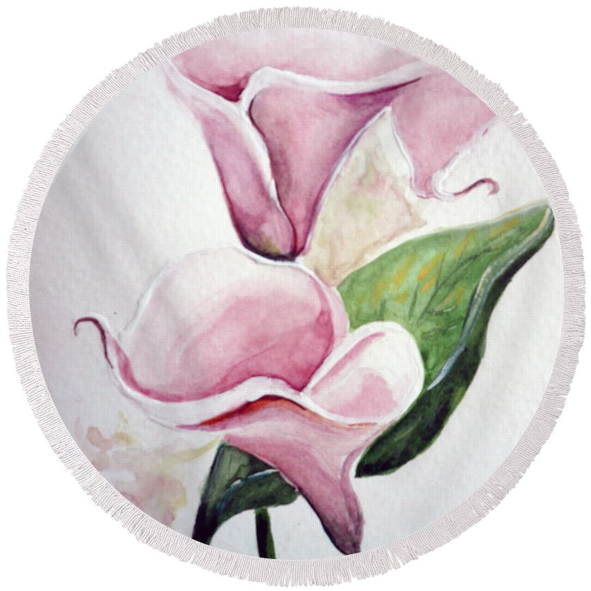 Botanical Painting Pink Paintings Calla Paintings Lily Paintings Flower Paintings Floral Paintings Flora Pink Flower Lily Round Beach Towel featuring the painting Pink Callas by Karin Dawn Kelshall- Best