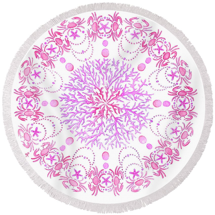 Coastal Art Round Beach Towel featuring the painting Pink Crab Mandala by Stephanie Wagg
