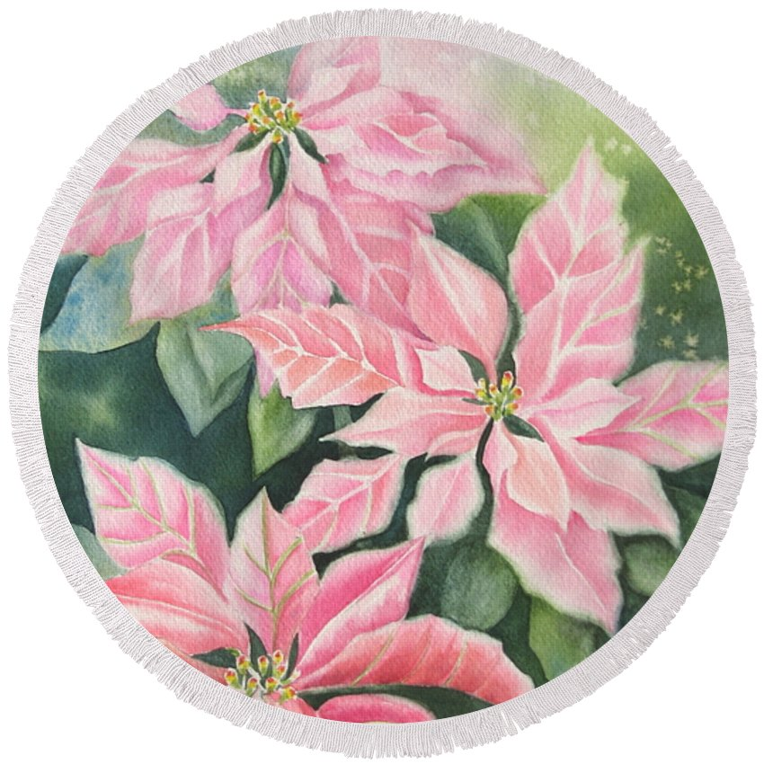 Pink Poinsettias Round Beach Towel featuring the painting Pink Delight by Deborah Ronglien