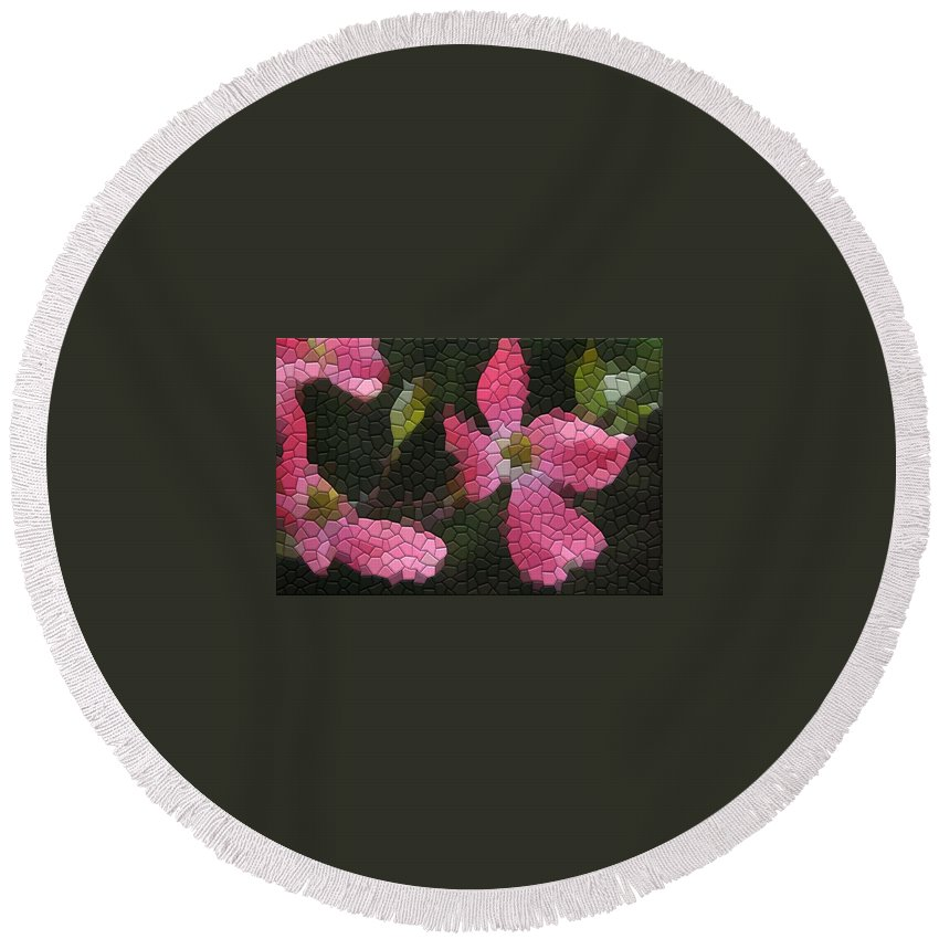 Dogwood Round Beach Towel featuring the photograph Pink Dogwoods by Kathryn Meyer