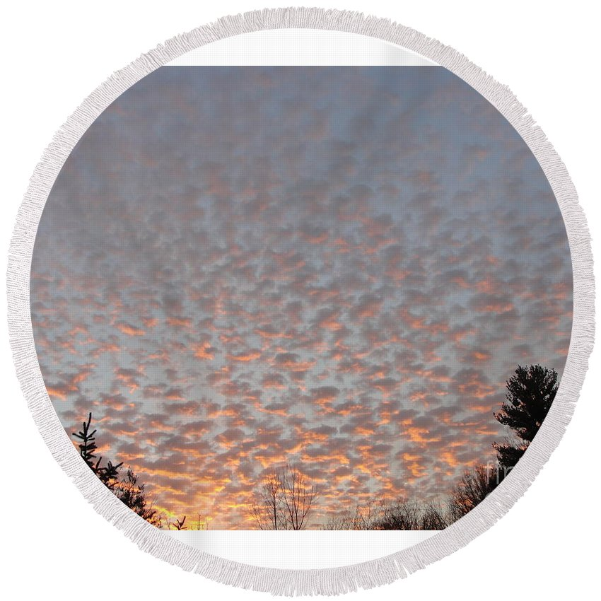Sky Round Beach Towel featuring the photograph Pink Dotted Sky by Alice Heart