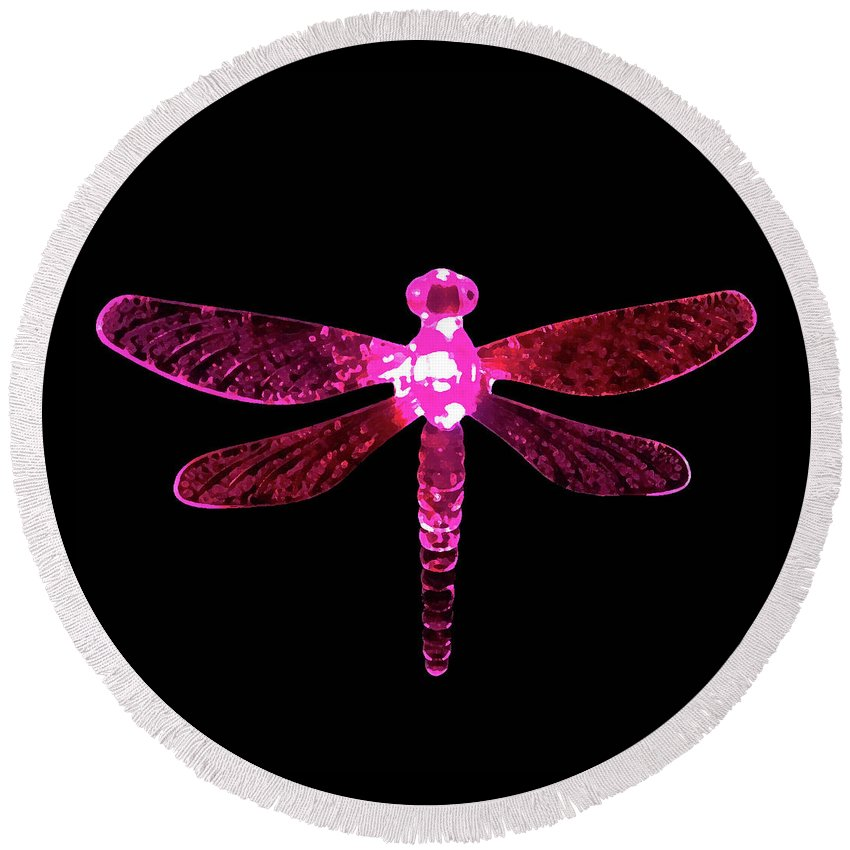 Pink Dragonfly Round Beach Towel