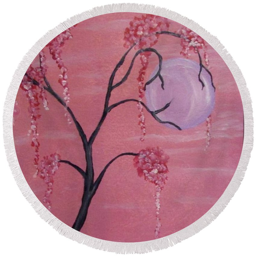 Watercolor Round Beach Towel featuring the painting Pink Dream by Pamula Reeves-Barker