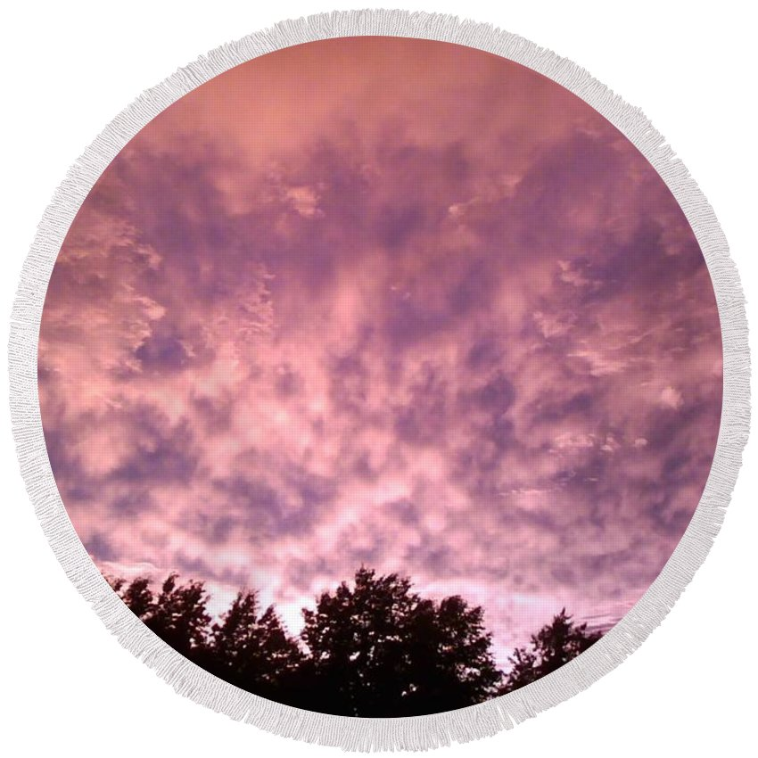 Pink Round Beach Towel featuring the photograph Pink Dusk by Charleen Treasures