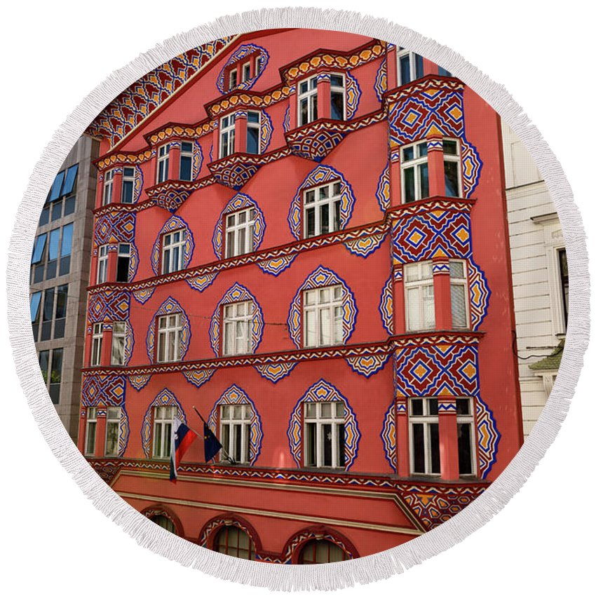 Cooperative Business Bank Round Beach Towel featuring the photograph Pink Facade Of The Cooperative Business Bank Building Called Vur by Reimar Gaertner