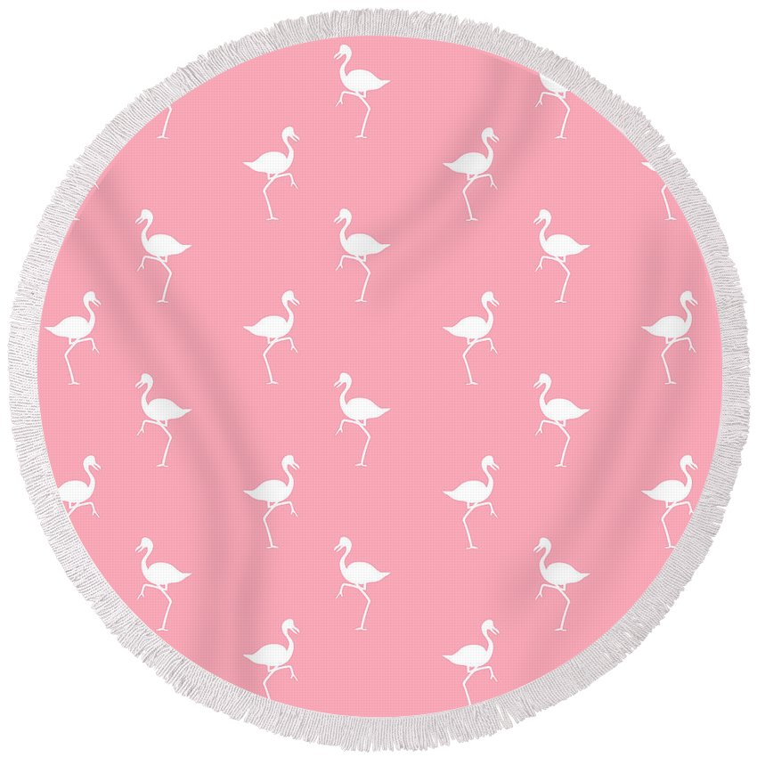Flamingo Pattern Round Beach Towel featuring the mixed media Pink Flamingos Pattern by Christina Rollo