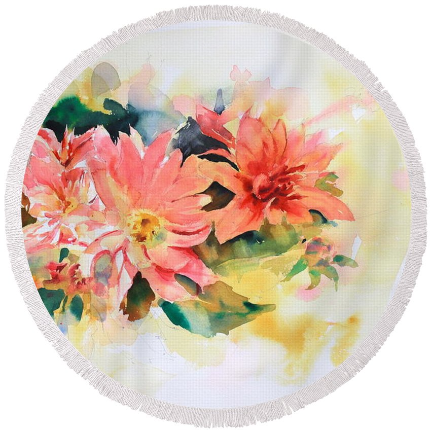 Pink Flowers Round Beach Towel featuring the painting Pink Flowers by Ibolya Taligas