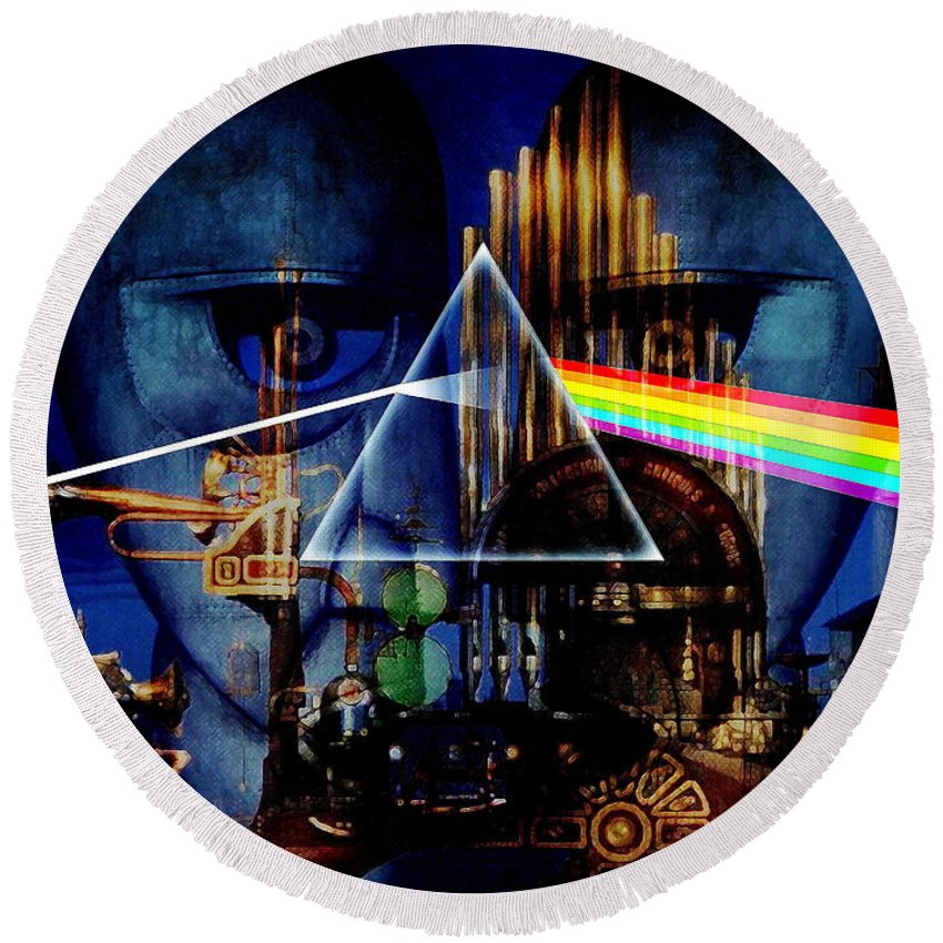 Pink Floyd Round Beach Towel featuring the digital art Pink Floyd Montage by P Donovan