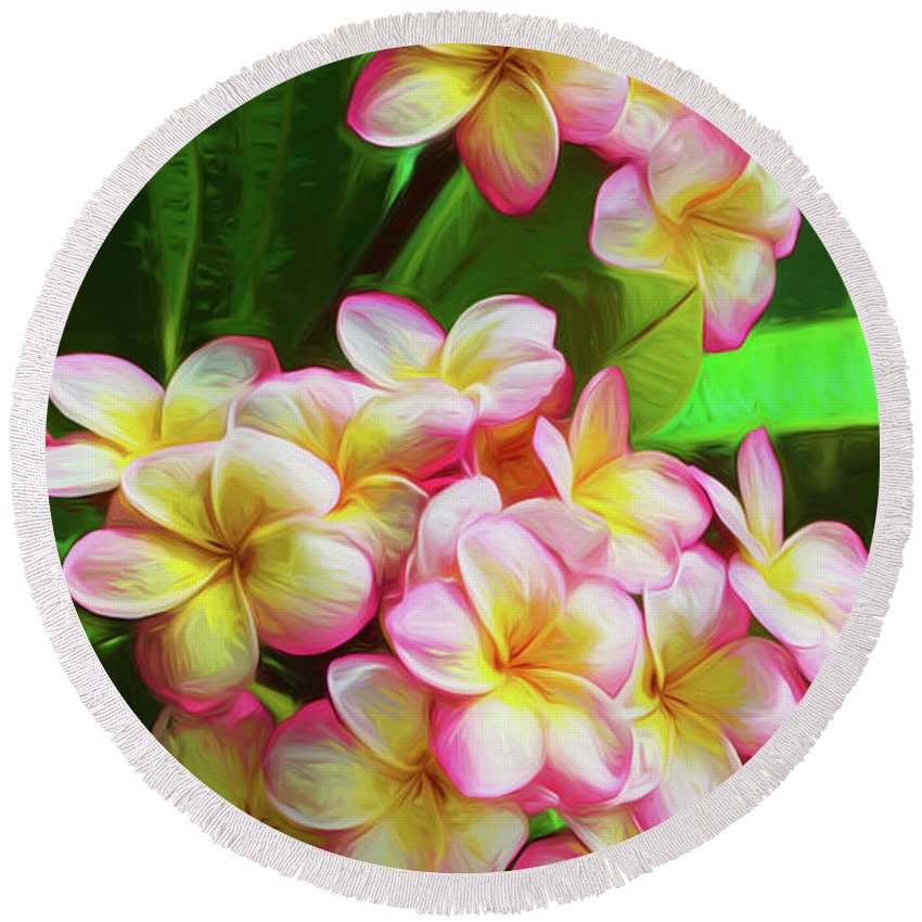 Pink Flora Round Beach Towel featuring the photograph Pink Frangipani by Sheila Smart Fine Art Photography