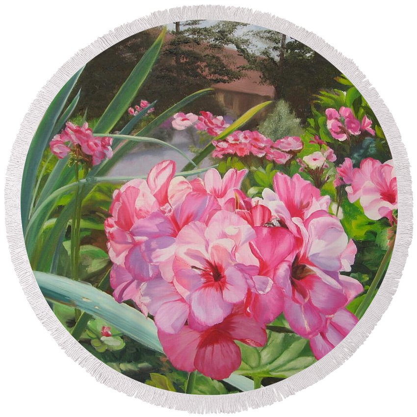Pink Geraniums Round Beach Towel featuring the painting Pink Geraniums by Lea Novak