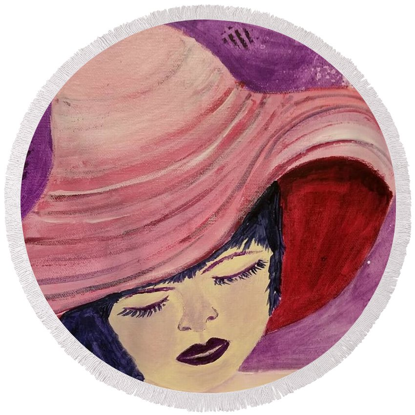 Woman In Pink Hat Round Beach Towel featuring the painting Pink Hat by Vincenzina Baumann