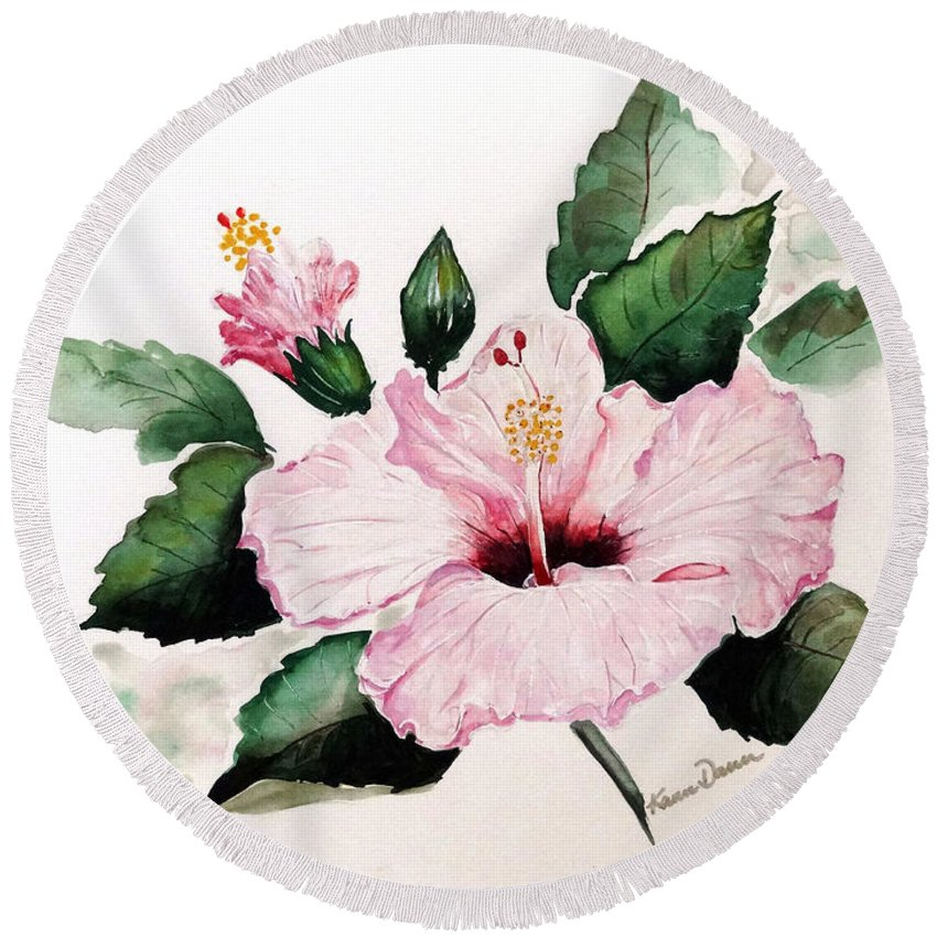 Hibiscus Painting  Floral Painting Flower Pink Hibiscus Tropical Bloom Caribbean Painting Round Beach Towel featuring the painting Pink Hibiscus by Karin Dawn Kelshall- Best