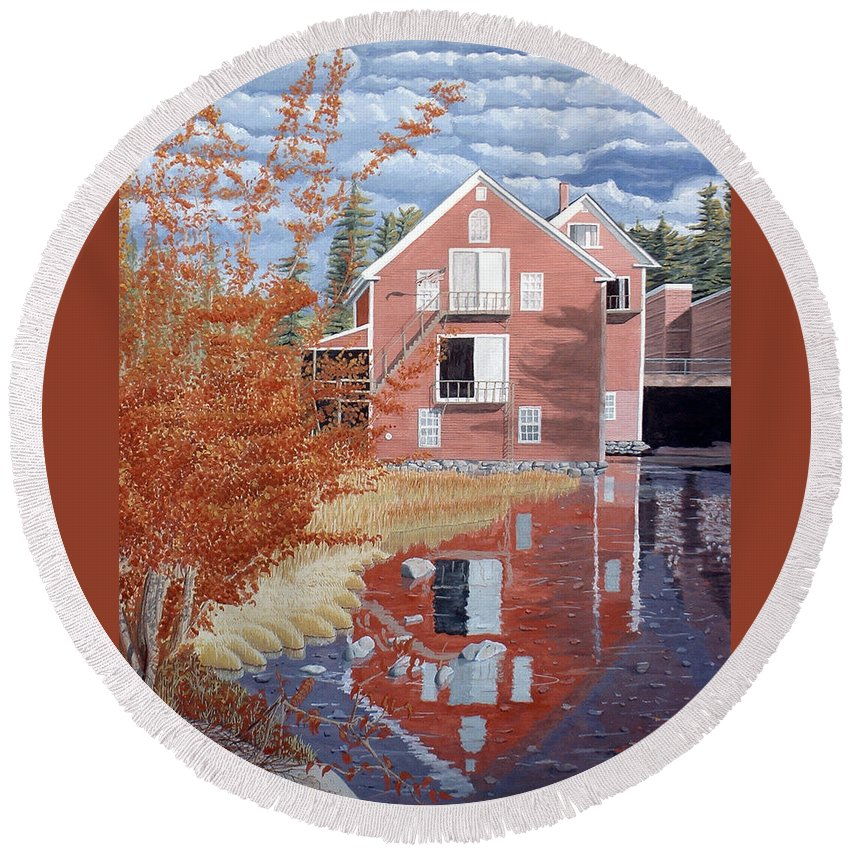 Autumn Round Beach Towel featuring the painting Pink House In Autumn by Dominic White