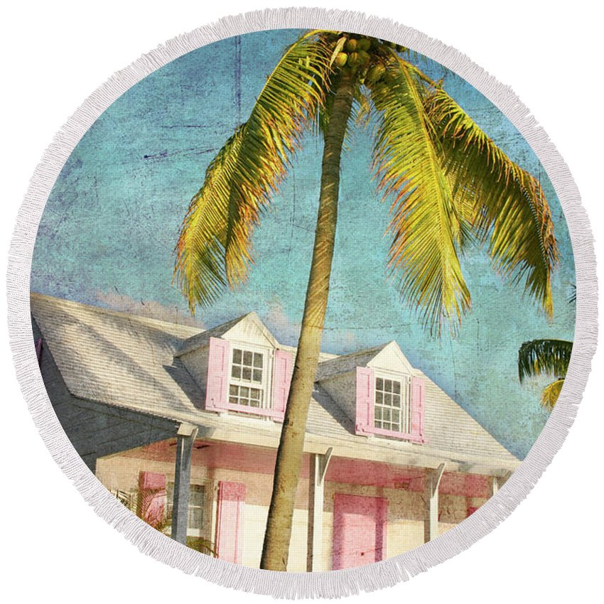 Round Beach Towel featuring the photograph Pink House Palm by Guy Crittenden