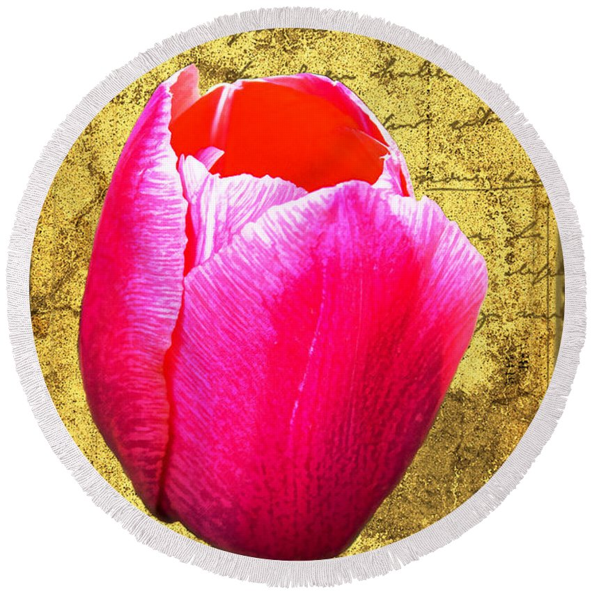 Pink Round Beach Towel featuring the digital art Pink Impression Tulip by Teresa Mucha