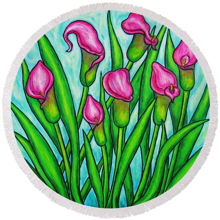 Lisa Lorenz Round Beach Towel featuring the painting Pink Ladies by Lisa Lorenz