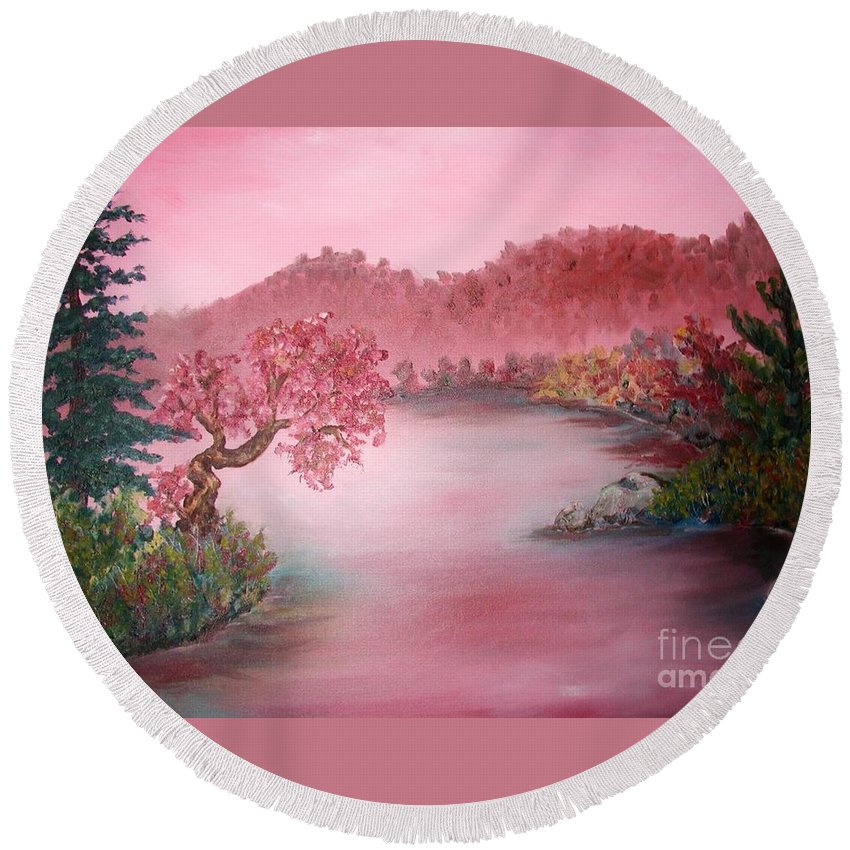 Lake Round Beach Towel featuring the painting Pink Lake by Emily Michaud