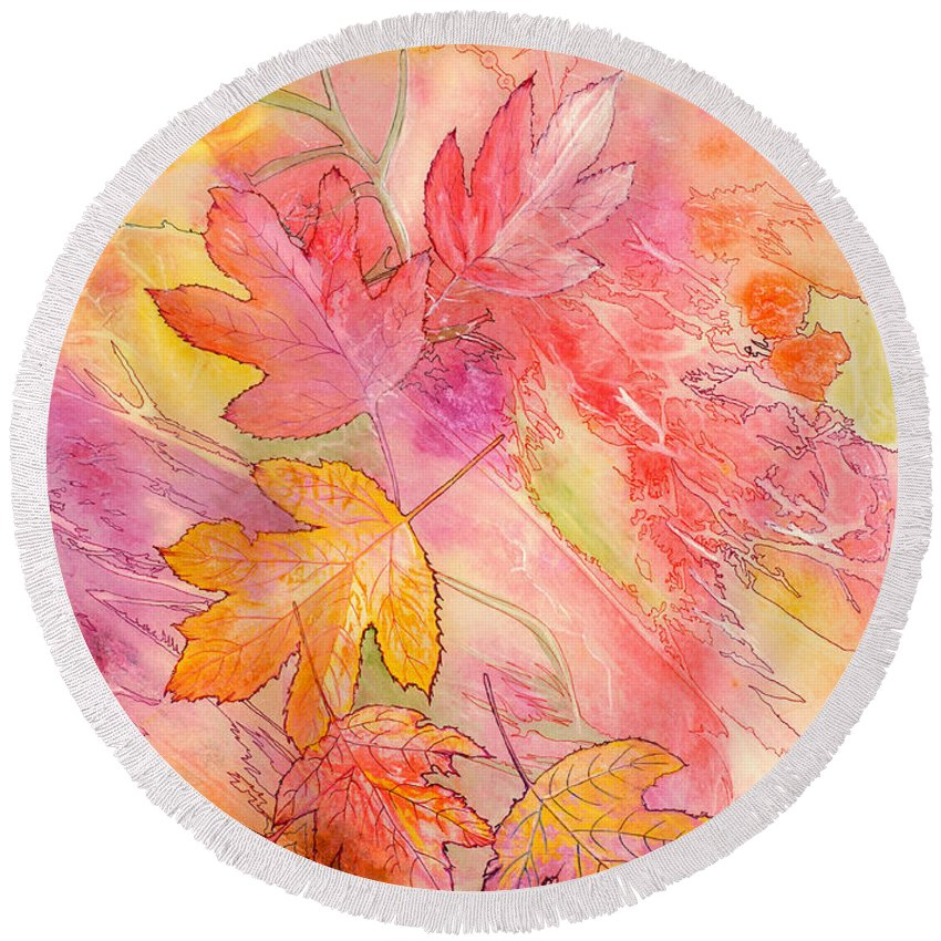 Tree Leaves Round Beach Towel featuring the painting Pink Leaves by Nancy Cupp