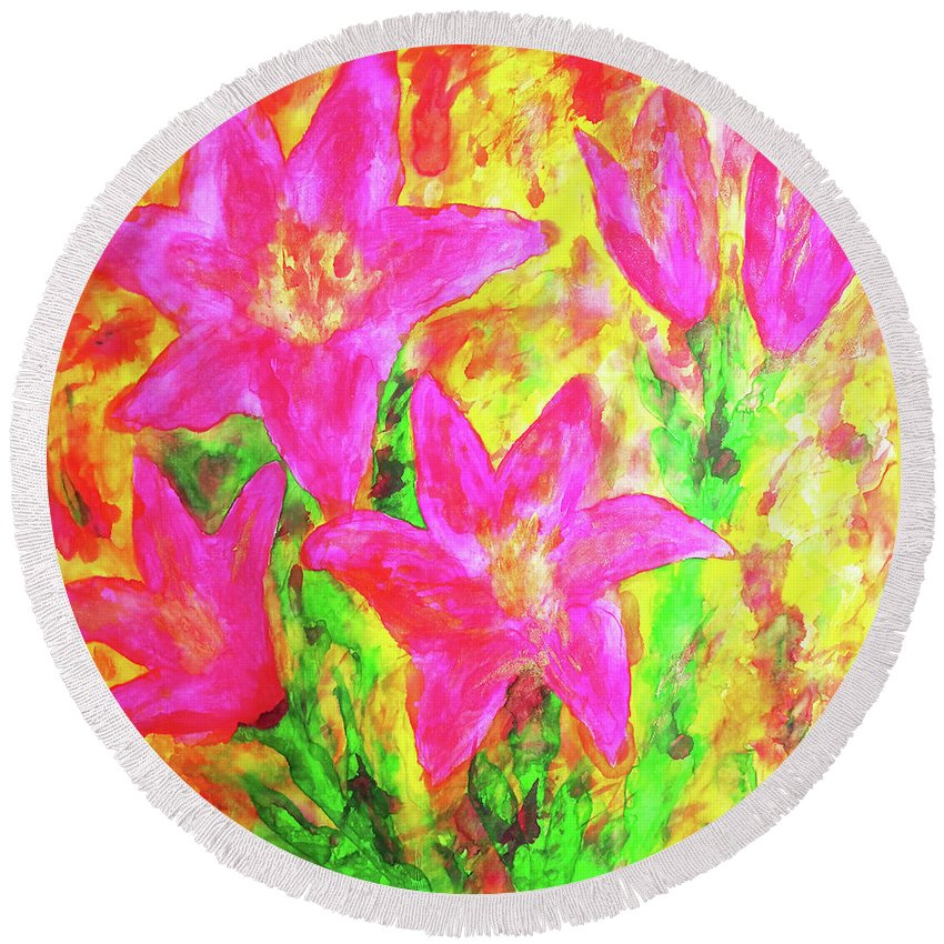 Lilies. Lily Round Beach Towel featuring the painting Pink Lilies by Maja Smid