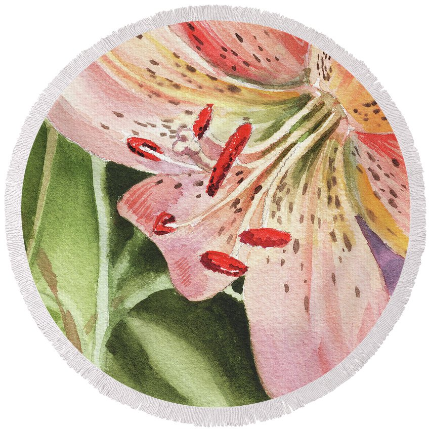 Tiger Lily Round Beach Towel featuring the painting Pink Lily Close Up by Irina Sztukowski