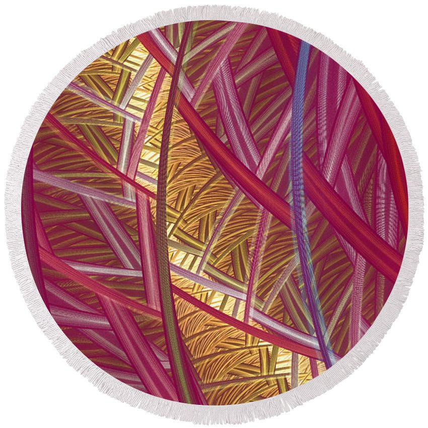 Fractal Round Beach Towel featuring the mixed media Pink Lines by Deborah Benoit