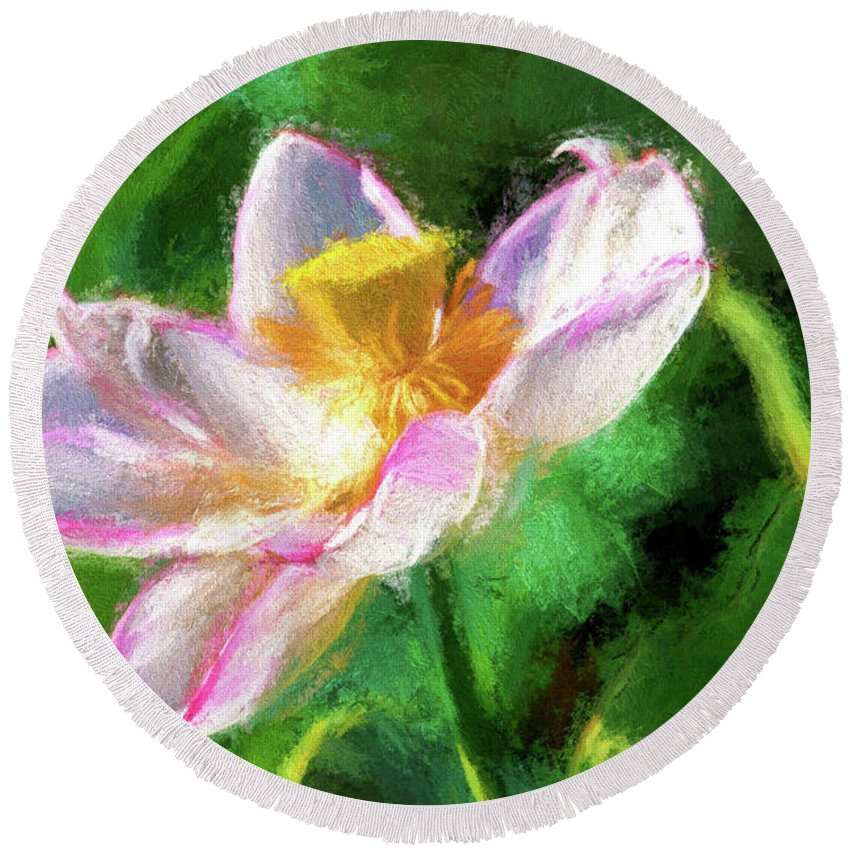 Recent. Current Round Beach Towel featuring the photograph Pink Lotus by Geraldine Scull