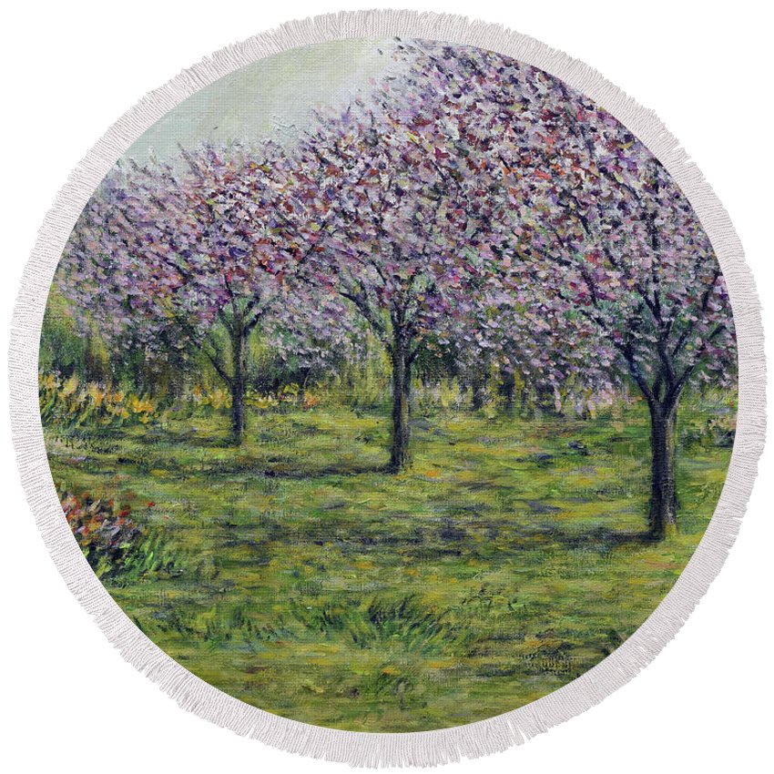 Painting Round Beach Towel featuring the painting Pink Orchards Garden by Eugene Kuperman