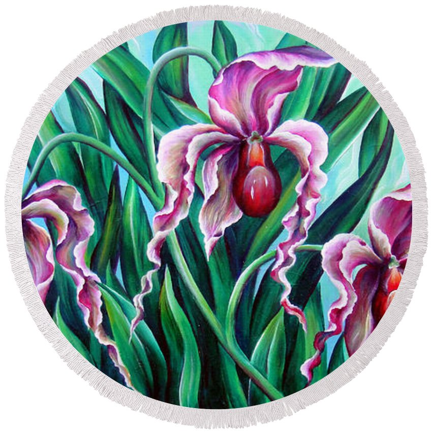Orchid Round Beach Towel featuring the painting Pink Orchids by Sofia Metal Queen