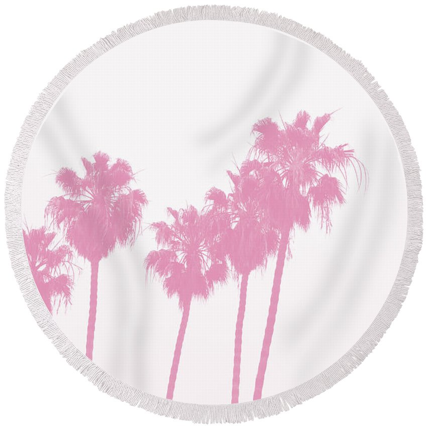 Palm Trees Round Beach Towel featuring the photograph Pink Palm Trees- Art By Linda Woods by Linda Woods