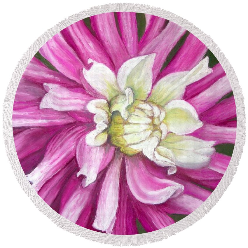 Floral Round Beach Towel featuring the painting Pink Petal Blast by Minaz Jantz