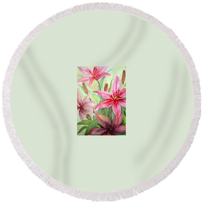 Pink Pixie Lilies Flowers Round Beach Towel featuring the painting Pink Pixie Lilies by Joanne Smoley