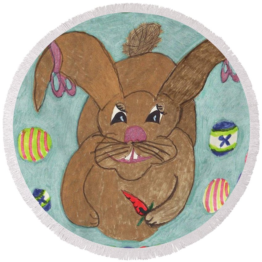 A Light Brown Rabbit With Pink Ribbons On Her Ears Surrounded By Jelly Beans And 4 Eggs. Round Beach Towel featuring the mixed media Pink Ribbons by Elinor Helen Rakowski